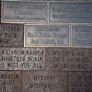 engraved bricks at Throop Park