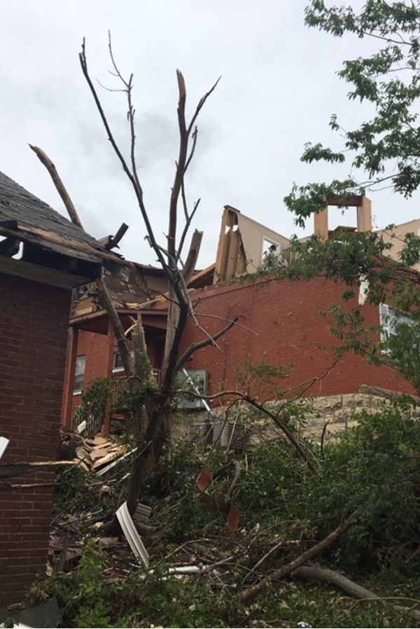 Second story of a home in Jefferson City destroyed by the tornado. A kitty was found inside and reunited with her owner.